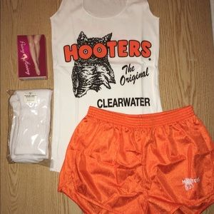 Hooters Girl uniform tank shorts hose socks Small